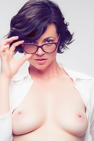 Terry Models Eye Glasses for a client... then gets naked for giggles!