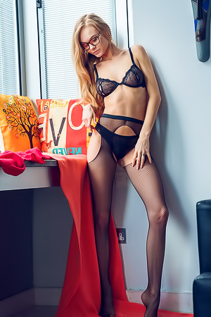 Playful Chick Nancy A In Hot Black Lingerie